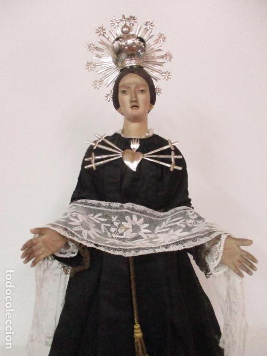 Arte: Virgen Dolorosa - Cap y Pota - Madera Policromada - Bordado Hilo de Oro - Corona y Corazón de Plata - Foto 19 - 104945167