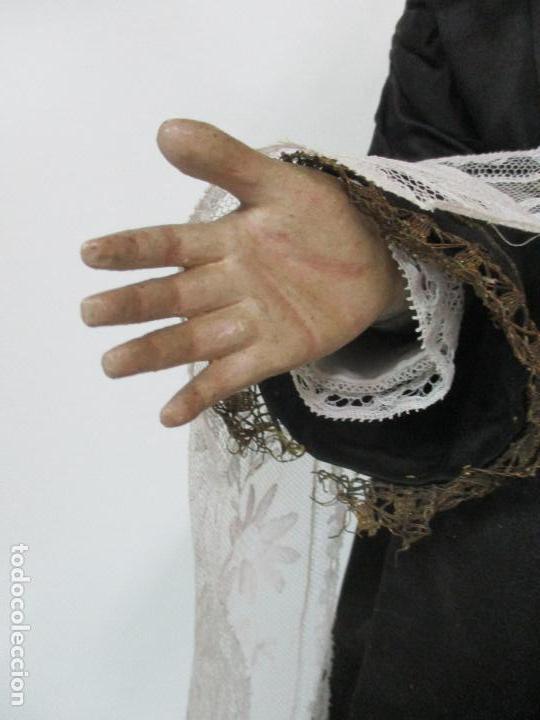 Arte: Virgen Dolorosa - Cap y Pota - Madera Policromada - Bordado Hilo de Oro - Corona y Corazón de Plata - Foto 20 - 104945167