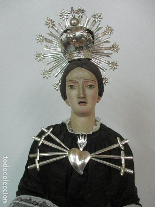 Arte: Virgen Dolorosa - Cap y Pota - Madera Policromada - Bordado Hilo de Oro - Corona y Corazón de Plata - Foto 22 - 104945167
