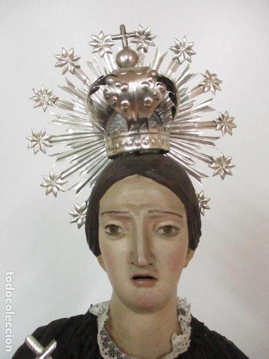Arte: Virgen Dolorosa - Cap y Pota - Madera Policromada - Bordado Hilo de Oro - Corona y Corazón de Plata - Foto 25 - 104945167