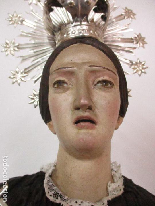 Arte: Virgen Dolorosa - Cap y Pota - Madera Policromada - Bordado Hilo de Oro - Corona y Corazón de Plata - Foto 26 - 104945167