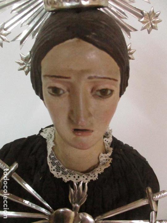 Arte: Virgen Dolorosa - Cap y Pota - Madera Policromada - Bordado Hilo de Oro - Corona y Corazón de Plata - Foto 27 - 104945167