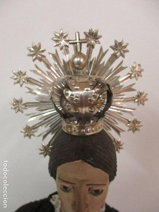 Arte: Virgen Dolorosa - Cap y Pota - Madera Policromada - Bordado Hilo de Oro - Corona y Corazón de Plata - Foto 28 - 104945167