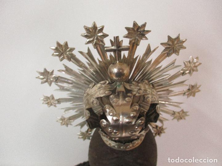 Arte: Virgen Dolorosa - Cap y Pota - Madera Policromada - Bordado Hilo de Oro - Corona y Corazón de Plata - Foto 29 - 104945167