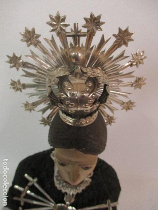 Arte: Virgen Dolorosa - Cap y Pota - Madera Policromada - Bordado Hilo de Oro - Corona y Corazón de Plata - Foto 30 - 104945167