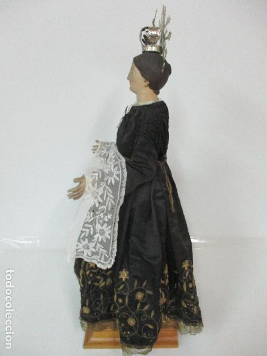 Arte: Virgen Dolorosa - Cap y Pota - Madera Policromada - Bordado Hilo de Oro - Corona y Corazón de Plata - Foto 32 - 104945167