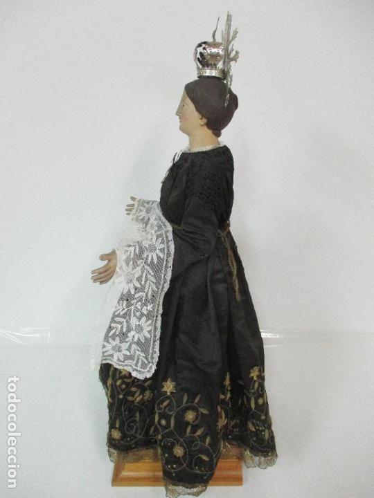 Arte: Virgen Dolorosa - Cap y Pota - Madera Policromada - Bordado Hilo de Oro - Corona y Corazón de Plata - Foto 34 - 104945167