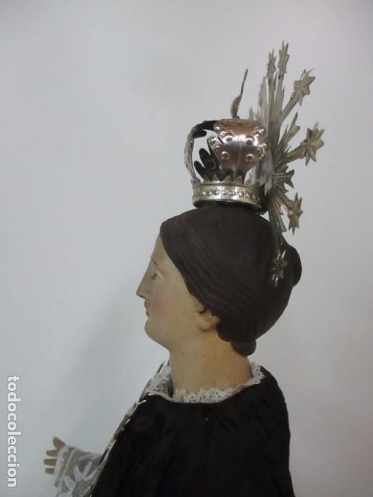 Arte: Virgen Dolorosa - Cap y Pota - Madera Policromada - Bordado Hilo de Oro - Corona y Corazón de Plata - Foto 36 - 104945167
