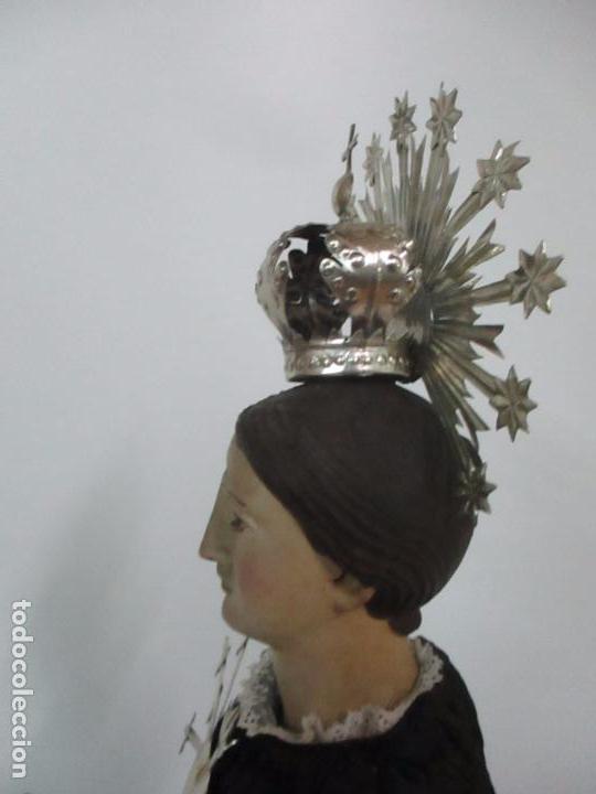 Arte: Virgen Dolorosa - Cap y Pota - Madera Policromada - Bordado Hilo de Oro - Corona y Corazón de Plata - Foto 38 - 104945167