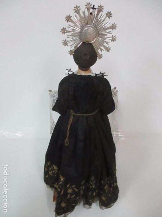 Arte: Virgen Dolorosa - Cap y Pota - Madera Policromada - Bordado Hilo de Oro - Corona y Corazón de Plata - Foto 39 - 104945167
