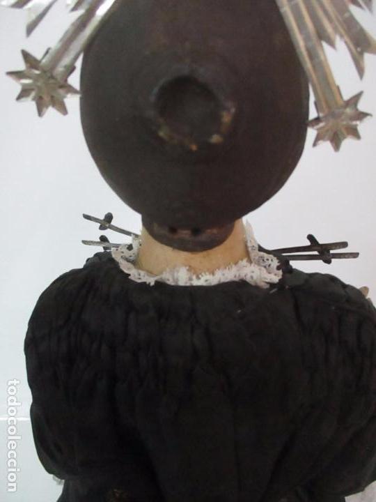 Arte: Virgen Dolorosa - Cap y Pota - Madera Policromada - Bordado Hilo de Oro - Corona y Corazón de Plata - Foto 41 - 104945167