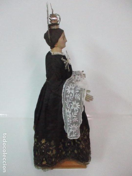 Arte: Virgen Dolorosa - Cap y Pota - Madera Policromada - Bordado Hilo de Oro - Corona y Corazón de Plata - Foto 43 - 104945167