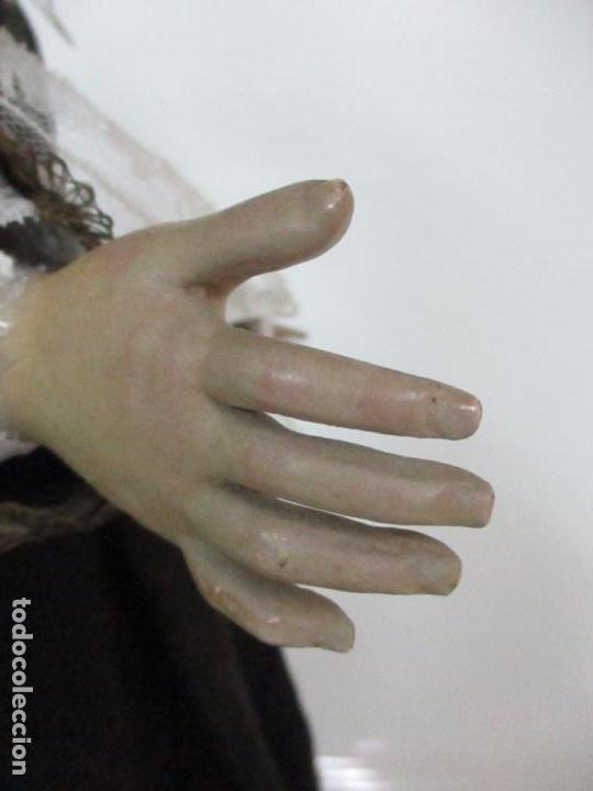 Arte: Virgen Dolorosa - Cap y Pota - Madera Policromada - Bordado Hilo de Oro - Corona y Corazón de Plata - Foto 46 - 104945167