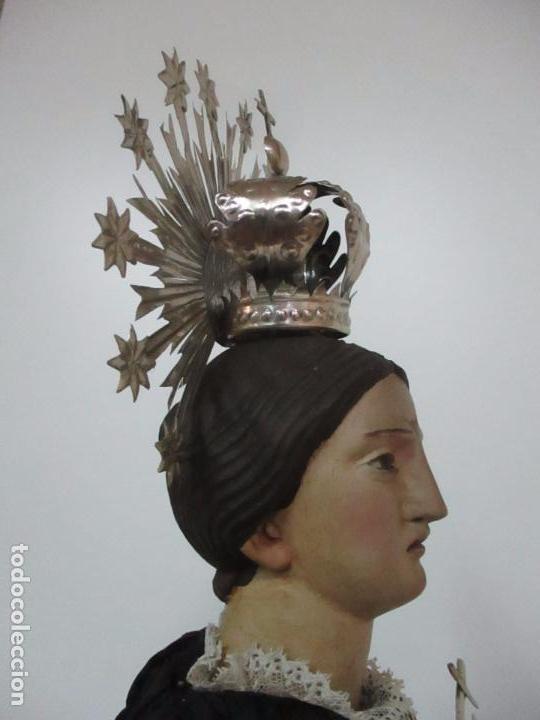 Arte: Virgen Dolorosa - Cap y Pota - Madera Policromada - Bordado Hilo de Oro - Corona y Corazón de Plata - Foto 47 - 104945167