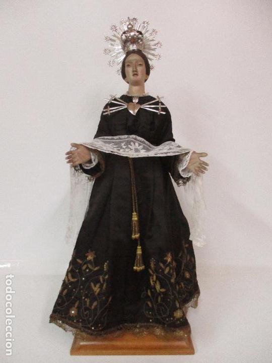 Arte: Virgen Dolorosa - Cap y Pota - Madera Policromada - Bordado Hilo de Oro - Corona y Corazón de Plata - Foto 48 - 104945167