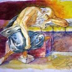 Arte: ANCIANO ANACORETA. ACUARELA SOBRE PAPEL. FIRMADO GORGUES. ESPAÑA. SIGLO XX. Lote 105452231