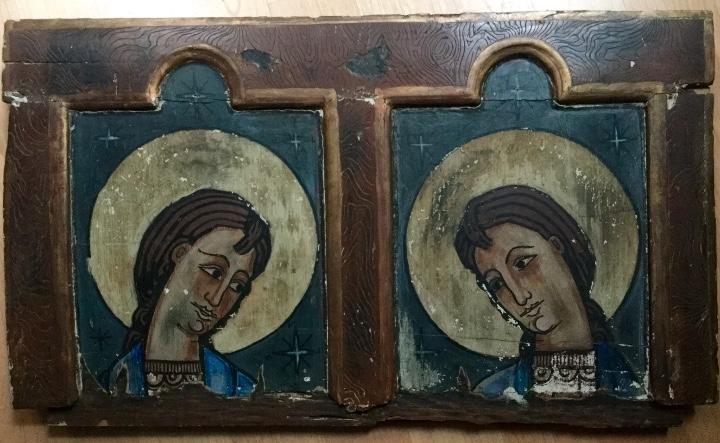 Arte: Antigua pintura figurativa temple sobre madera estilo Románico-catalán - Foto 2 - 85147248