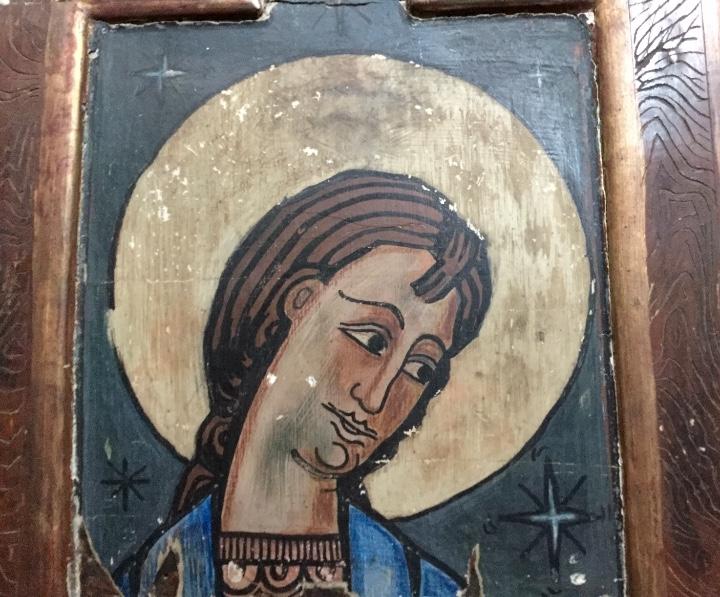 Arte: Antigua pintura figurativa temple sobre madera estilo Románico-catalán - Foto 3 - 85147248