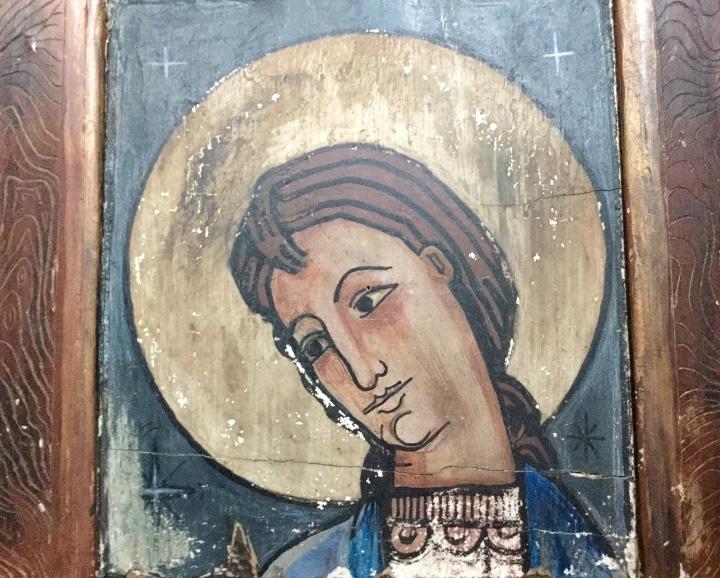 Arte: Antigua pintura figurativa temple sobre madera estilo Románico-catalán - Foto 4 - 85147248