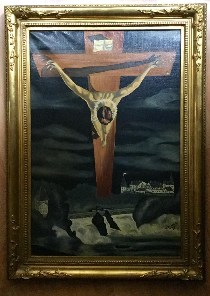 ÓLEO CRISTO SAN JUAN DE LA CRUZ SIMILAR AL QUE DALÍ REALIZÓ (Arte - Arte Religioso - Pintura Religiosa - Oleo)