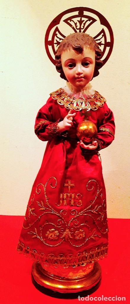 ANTIGUO NIÑO JESÚS DE MADERA CAP I POTA S. XIX MEDIDAS ALTO 50CM (Arte - Arte Religioso - Escultura)