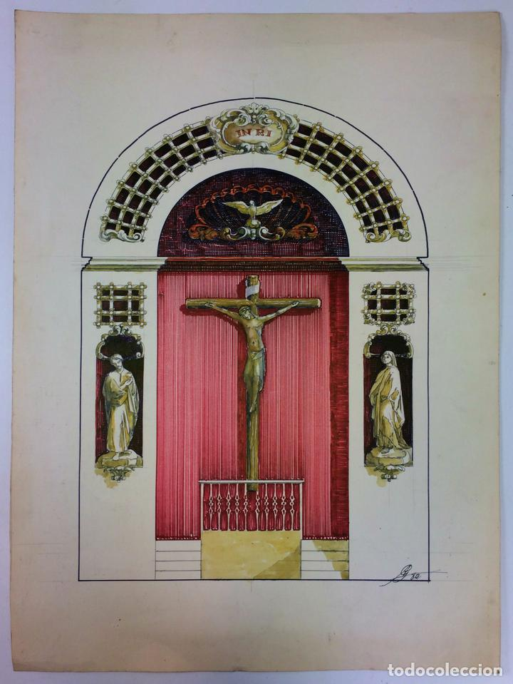 DISEÑO DE RETABLO. DIBUJO. ACUARELA. ROTULADOR. FIRMADO GORGUES. ESPAÑA. CIRCA 1950 (Arte - Arte Religioso - Pintura Religiosa - Acuarela)