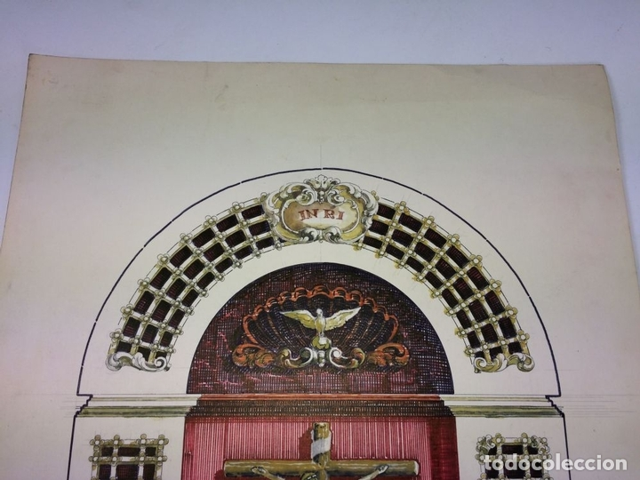 Arte: DISEÑO DE RETABLO. DIBUJO. ACUARELA. ROTULADOR. FIRMADO GORGUES. ESPAÑA. CIRCA 1950 - Foto 2 - 105800271
