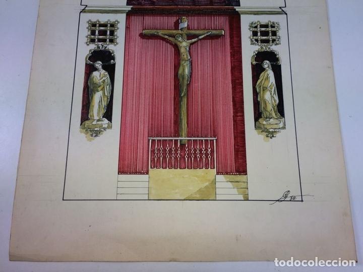 Arte: DISEÑO DE RETABLO. DIBUJO. ACUARELA. ROTULADOR. FIRMADO GORGUES. ESPAÑA. CIRCA 1950 - Foto 3 - 105800271