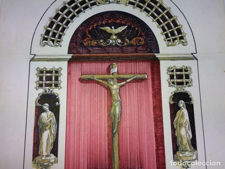 Arte: DISEÑO DE RETABLO. DIBUJO. ACUARELA. ROTULADOR. FIRMADO GORGUES. ESPAÑA. CIRCA 1950 - Foto 4 - 105800271