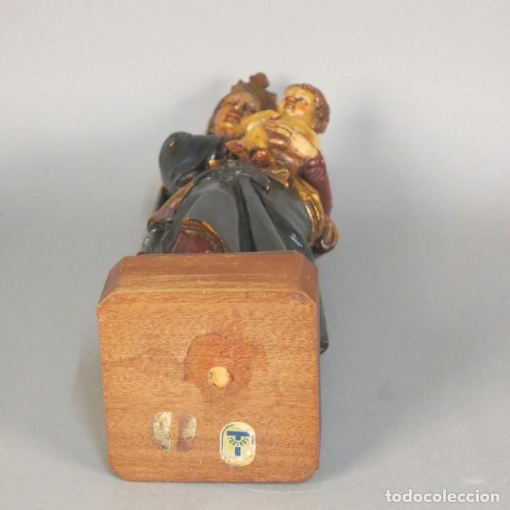 Arte: Antigua escultura de madera. Pintada a mano. 37 cm. Alemania 1930 - 1940 - Foto 4 - 105851095