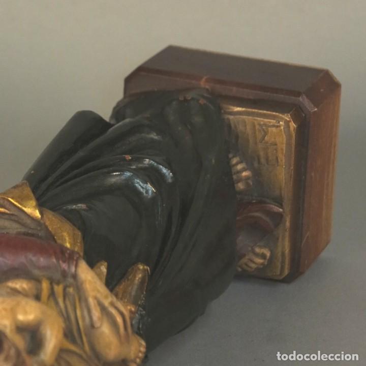 Arte: Antigua escultura de madera. Pintada a mano. 37 cm. Alemania 1930 - 1940 - Foto 5 - 105851095