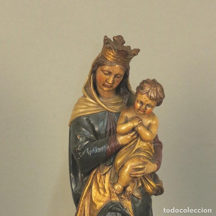 Arte: Antigua escultura de madera. Pintada a mano. 37 cm. Alemania 1930 - 1940 - Foto 6 - 105851095