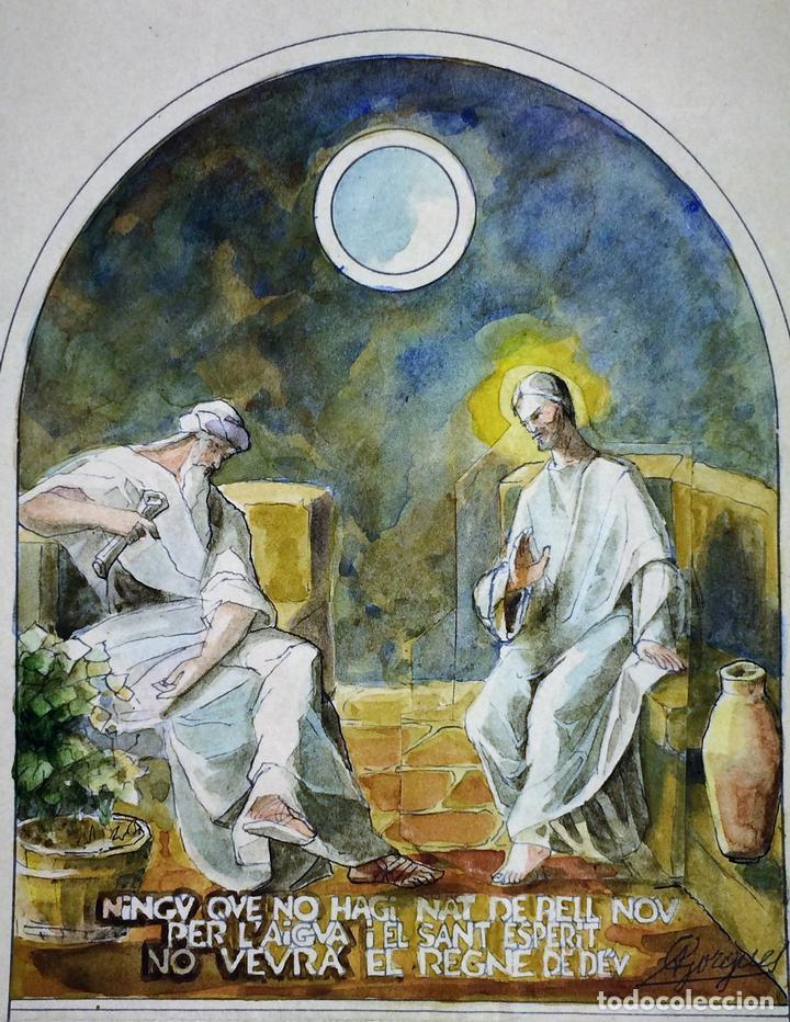 JESÚS Y NICODEMO. ACUARELA SOBRE PAPEL. FIRMADO GORGUES. ESPAÑA. CIRCA 1950 (Arte - Arte Religioso - Pintura Religiosa - Acuarela)