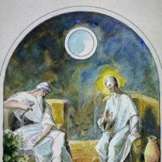 Arte: JESÚS Y NICODEMO. ACUARELA SOBRE PAPEL. FIRMADO GORGUES. ESPAÑA. CIRCA 1950. Lote 105896763