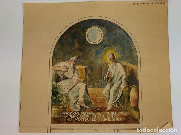 Arte: JESÚS Y NICODEMO. ACUARELA SOBRE PAPEL. FIRMADO GORGUES. ESPAÑA. CIRCA 1950 - Foto 2 - 105896763