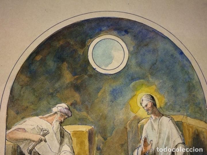 Arte: JESÚS Y NICODEMO. ACUARELA SOBRE PAPEL. FIRMADO GORGUES. ESPAÑA. CIRCA 1950 - Foto 4 - 105896763