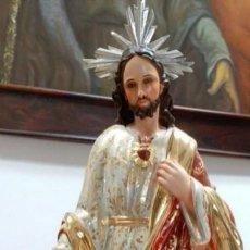 Arte: ESCULTURA MADERA CORAZON DE JESUS. Lote 105991147