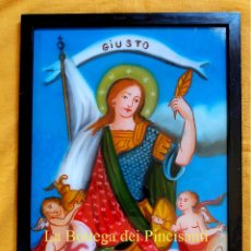 Arte: SAN GIUSTO CM 40X30 PINTURA RELIGIOSA OLEO BAJO CRISTAL SICILY 800 ' (REPRODUCCIÓN). Lote 94382726