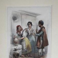 Arte: MEQUINENZA ZARAGOZA BARCELONA GRABADO DE ROUARGUE 1852 . Lote 106598915