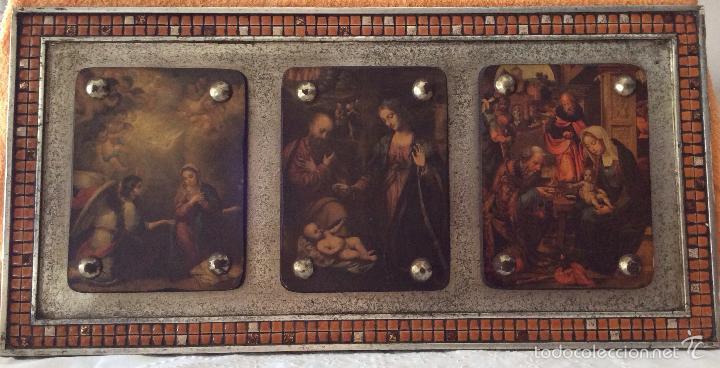 CUADRO RELIGIOSO CON ESCENAS BÍBLICAS CON MARCO DECORADO CON GRESITE (Arte - Arte Religioso - Trípticos)