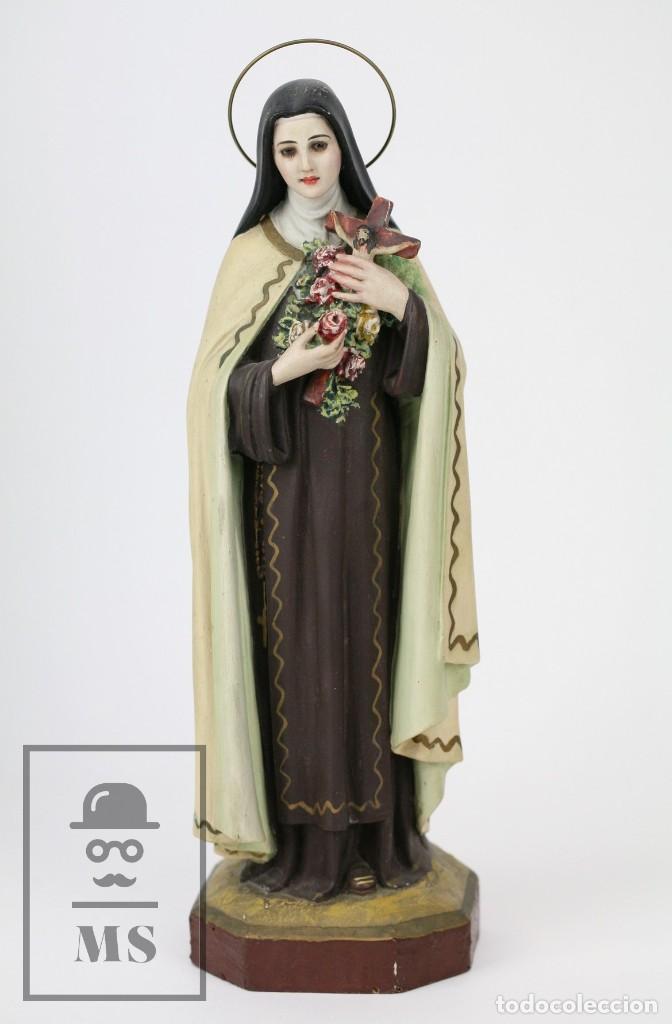 ESCULTURA DE SANTA ROSA DE LIMA - PASTA CARTÓN MADERA CON OJOS DE CRISTAL - AÑOS 30-40 - ALT 33 CM (Arte - Arte Religioso - Escultura)