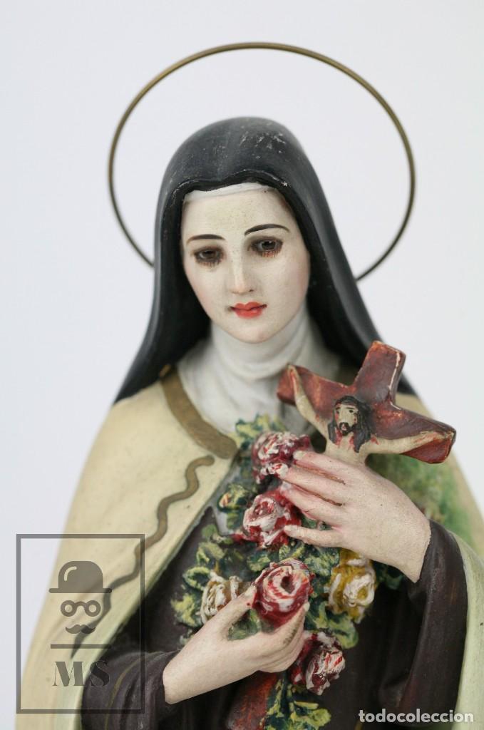 Arte: Escultura de Santa Rosa de Lima - Pasta Cartón Madera con Ojos de Cristal - Años 30-40 - Alt 33 cm - Foto 2 - 106741783
