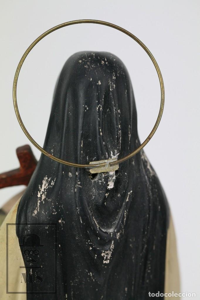 Arte: Escultura de Santa Rosa de Lima - Pasta Cartón Madera con Ojos de Cristal - Años 30-40 - Alt 33 cm - Foto 6 - 106741783