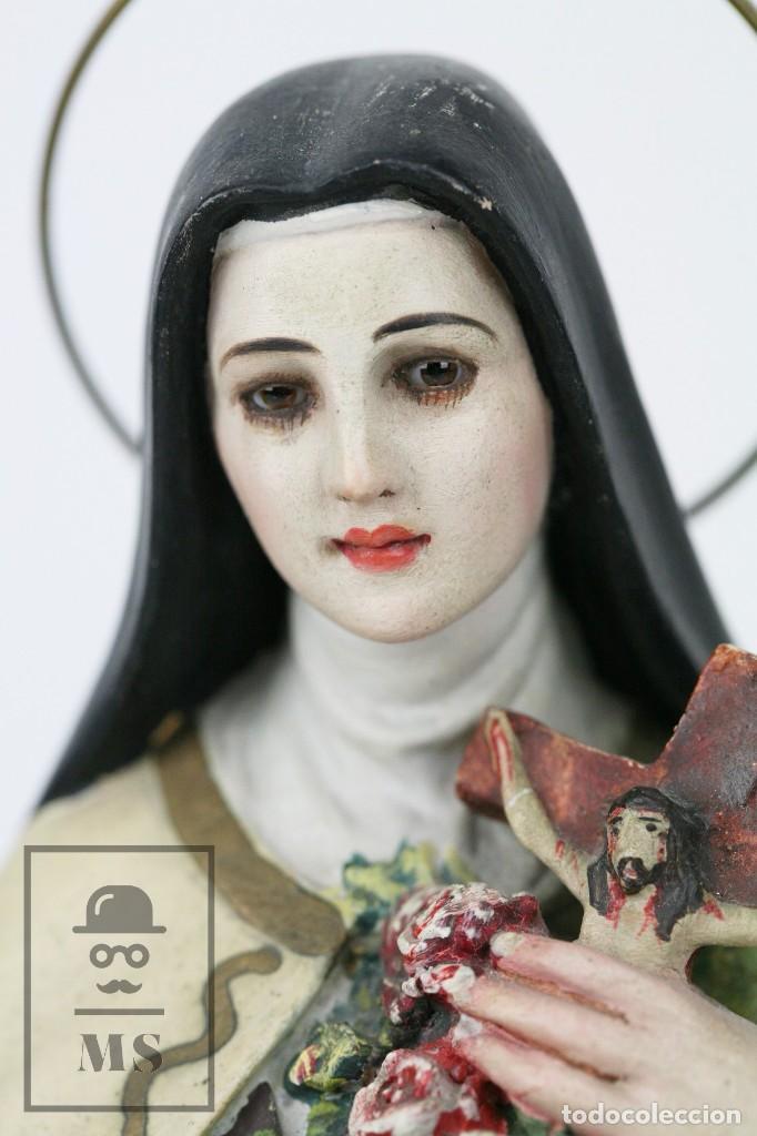 Arte: Escultura de Santa Rosa de Lima - Pasta Cartón Madera con Ojos de Cristal - Años 30-40 - Alt 33 cm - Foto 8 - 106741783