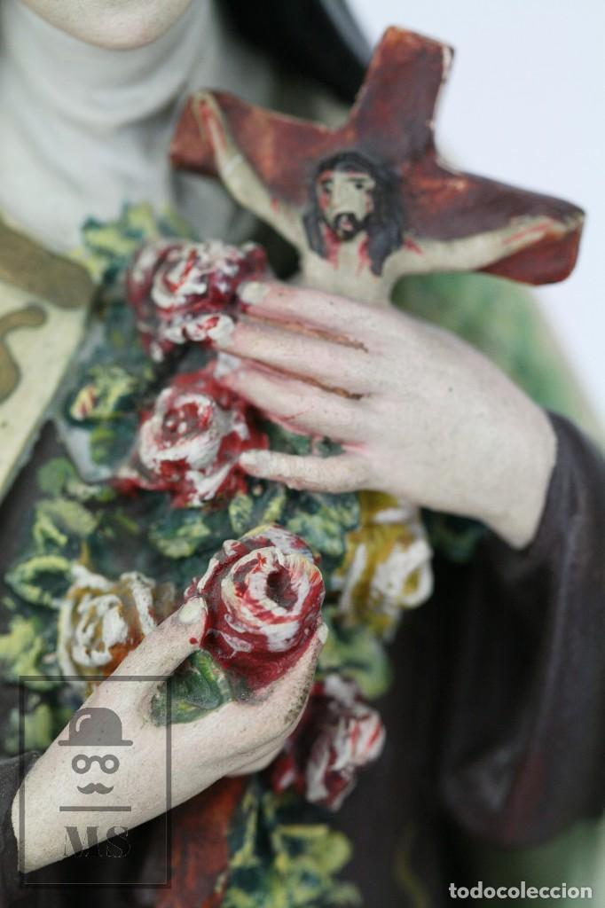 Arte: Escultura de Santa Rosa de Lima - Pasta Cartón Madera con Ojos de Cristal - Años 30-40 - Alt 33 cm - Foto 9 - 106741783