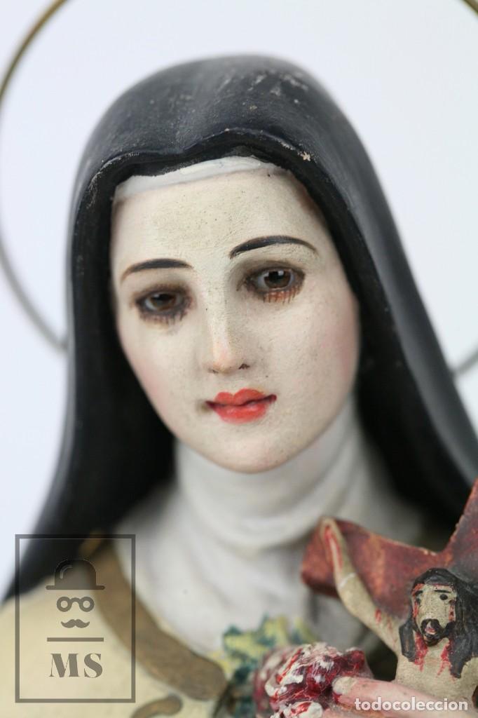 Arte: Escultura de Santa Rosa de Lima - Pasta Cartón Madera con Ojos de Cristal - Años 30-40 - Alt 33 cm - Foto 14 - 106741783