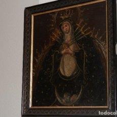 Arte: ANTIGUO OLEO SOBRE LIENZO, S. XVIII - XIX, VIRGEN DOLOROSA, ESPADAS, 41 X 35 CM. Lote 111191995