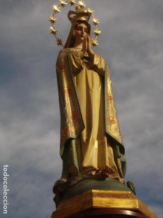 Arte: TOTA PULCHRA ES MARIA TALLA DE MADERA ESCUELA ESPAÑOLA SXIX DORADA AL ORO FINO - Foto 6 - 107198611