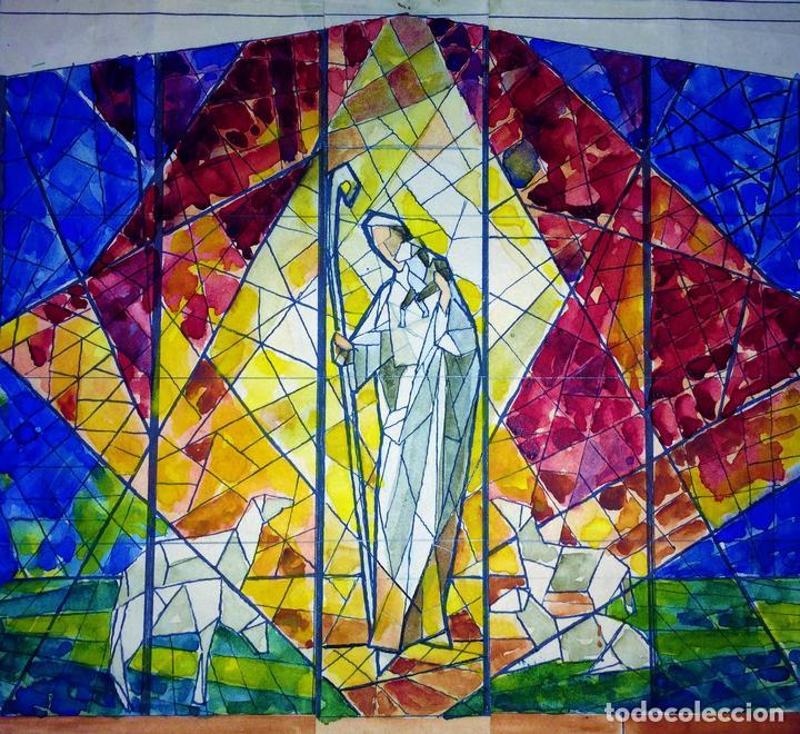 ESTUDIO PARA VITRAL. PINTURA. ACUARELA Y TINTA. ATRIB. GORGUES. ESPAÑA. CIRCA 1950 (Arte - Arte Religioso - Pintura Religiosa - Acuarela)