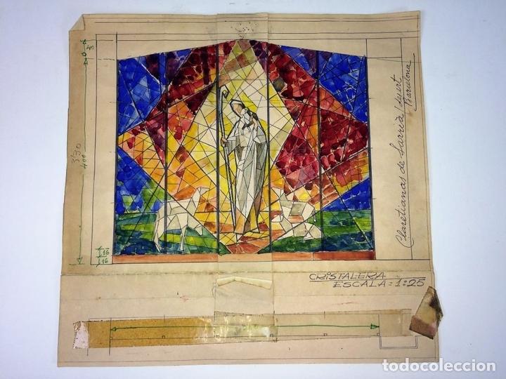 Arte: ESTUDIO PARA VITRAL. PINTURA. ACUARELA Y TINTA. ATRIB. GORGUES. ESPAÑA. CIRCA 1950 - Foto 2 - 107210571